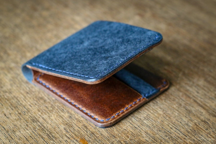 Image of Traditional Bifold in Navy Pueblo and Waxed Flesh Chromexcel