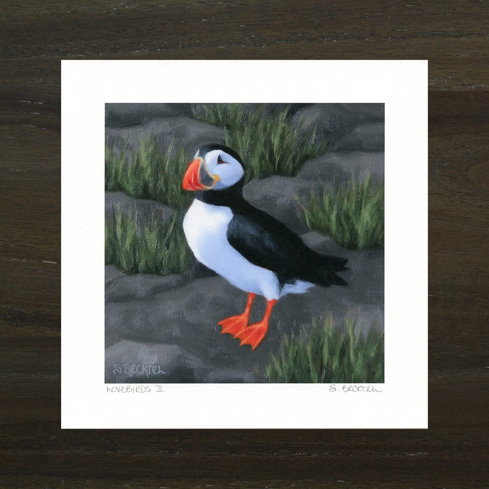 "Image of ""Lovebirds II"" Puffin Art Print"