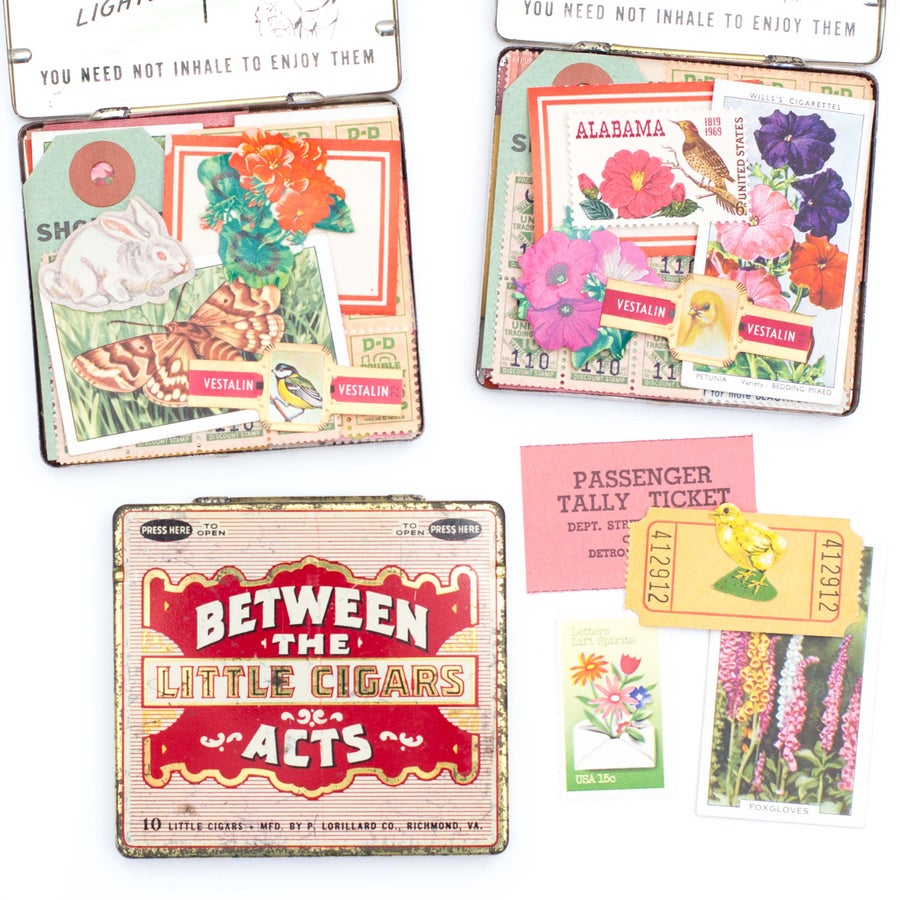 Image of Pink & Red Cigarette Tin with Spring Ephemera