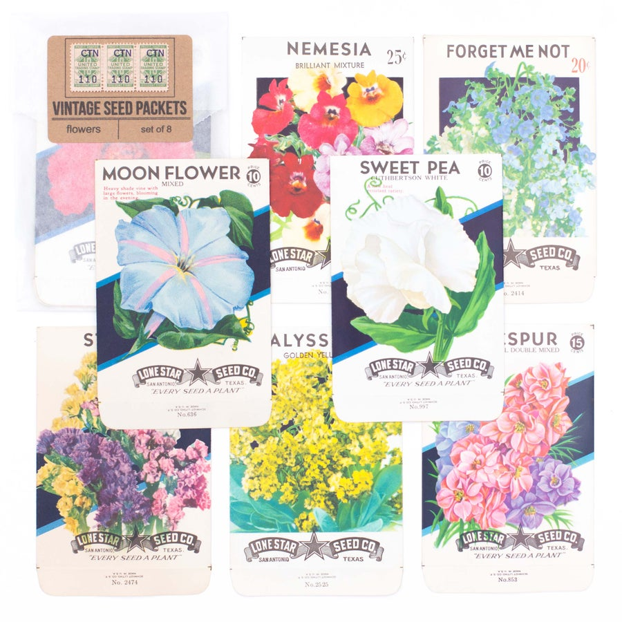 Image of Vintage Flower Seed Packets, No. 4 - Set of 8