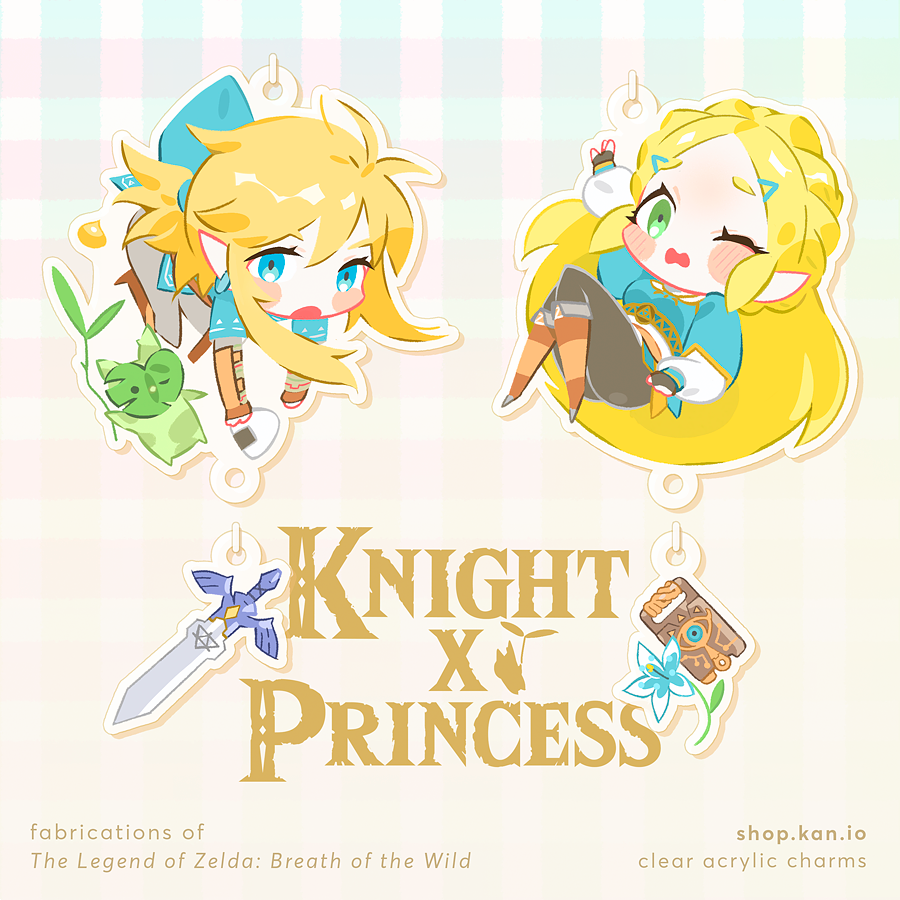 Image of Knight x Princess: Link and Zelda Charms / zelda