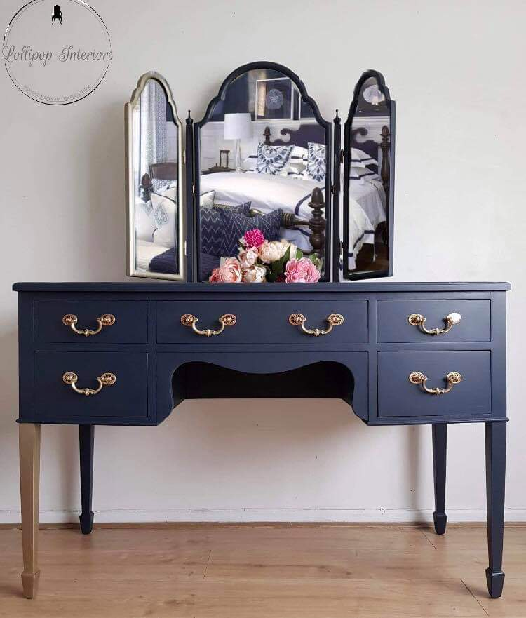 Image of Navy blue dressing table with triple mirror