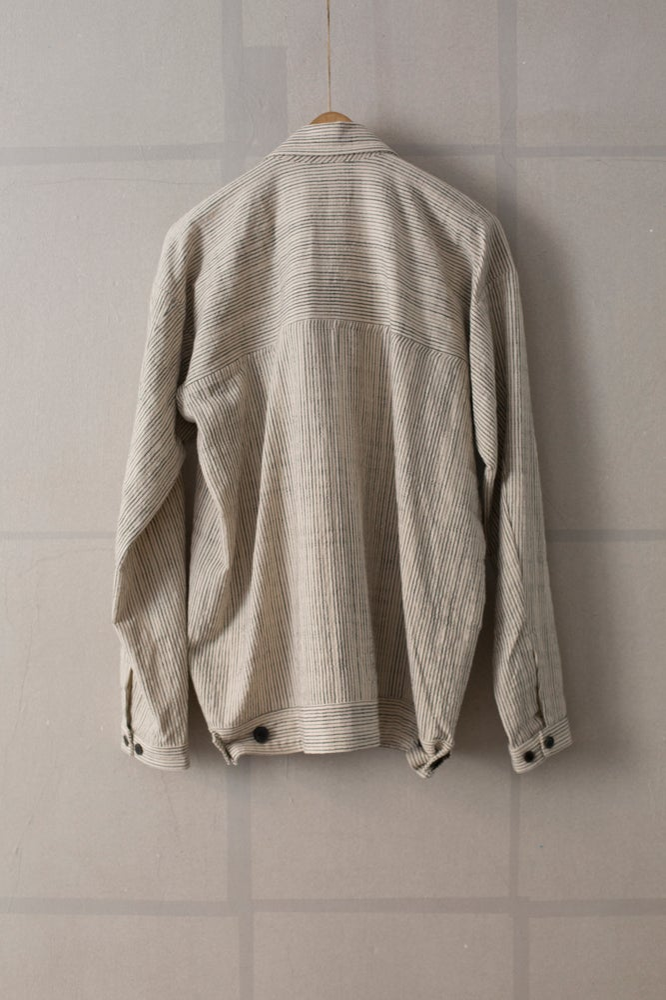 Image of JACKET#30 - ECRU ORGANIC STRIPED CLOTH by Jan-Jan Van Essche