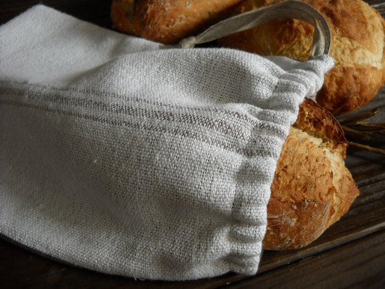 Image of Handwoven Farmhouse Bread Bag, Woven Linen and Cotton, White with Taupe Stripes