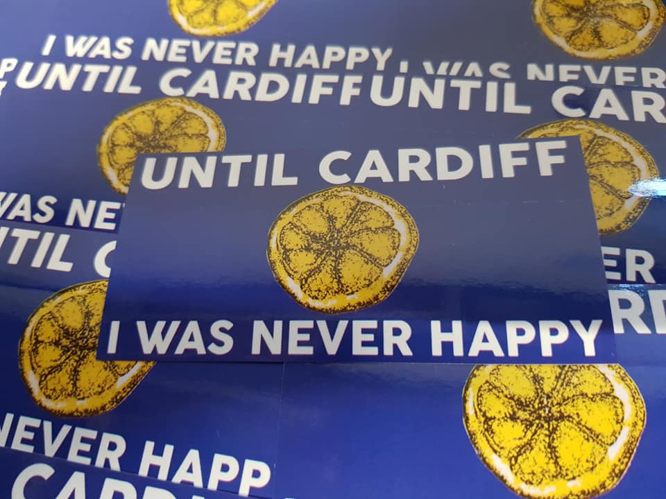 Until Cardiff I Was Never Happy New 25 pack of 10x5cm Football Ultras Stickers.