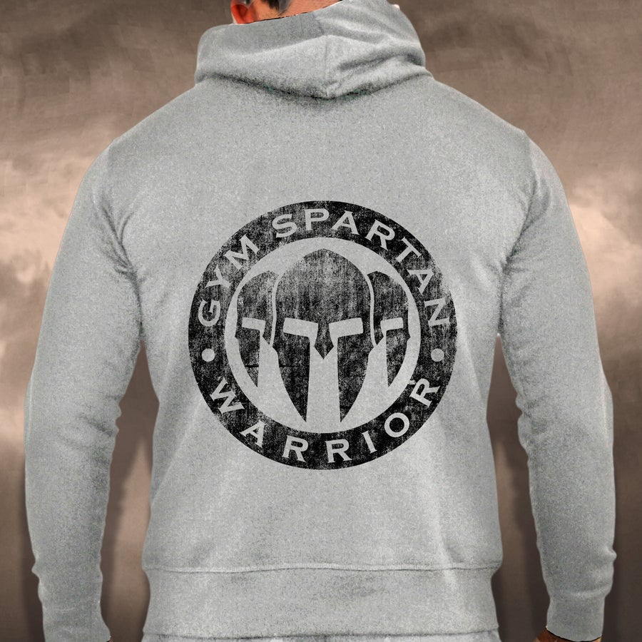 Image of NEW IN - Mens Gym Spartan Logo Grey Zip Up Hoodie