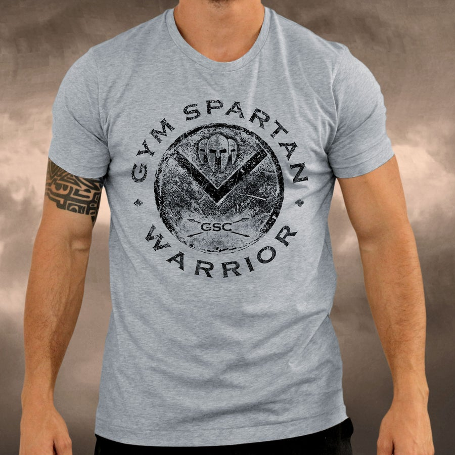 Image of NEW IN - Mens Gym Spartan Grey with Black Shield Warrior T-Shirt