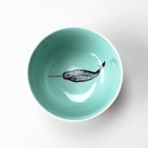Image of roundie bowl with narwhal, aqua