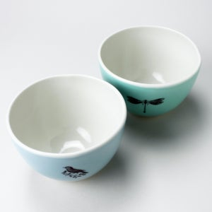 Image of roly soup/cereal/yogurt bowls, set of two, aqua and ocean