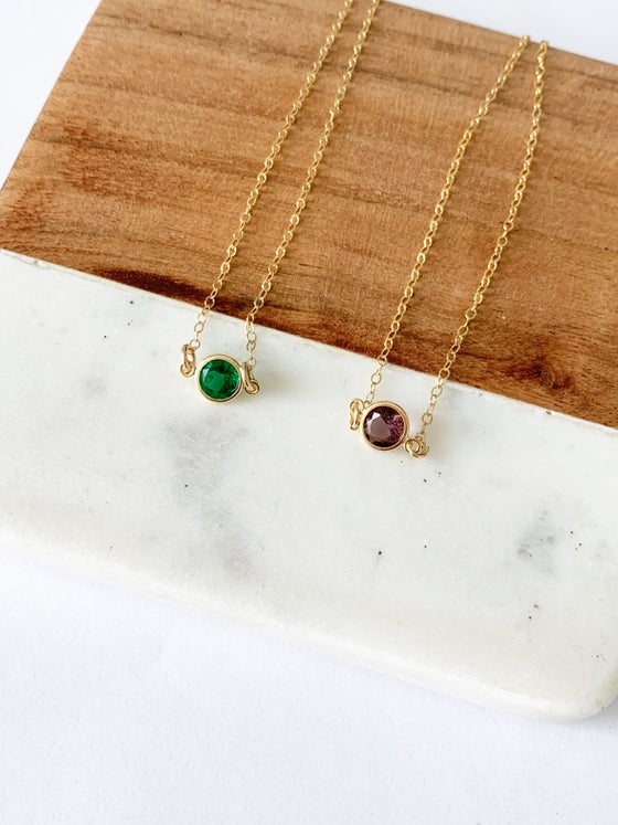 Image of Gold filled birthstone necklace