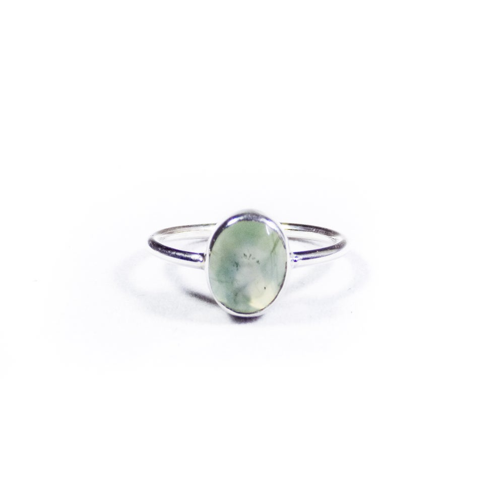 Image of Single Stone Natural Prehnite Ring 2- silver