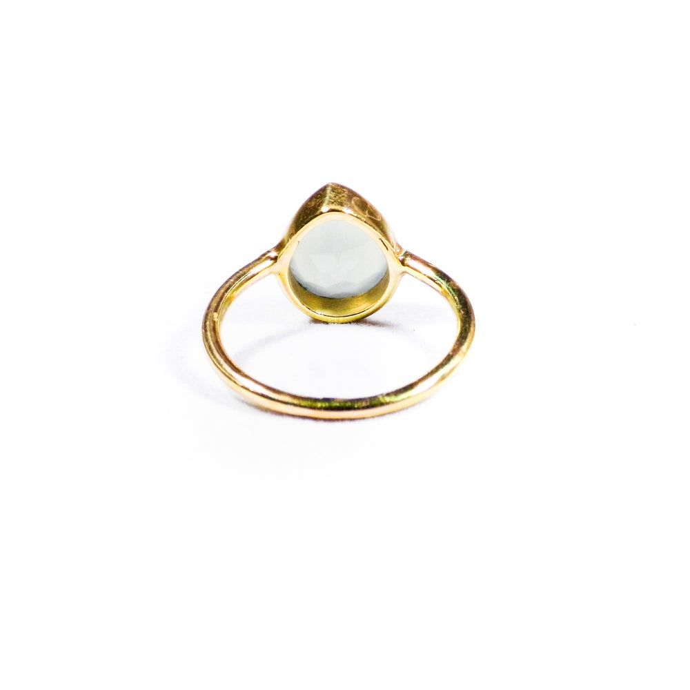 Image of Single Stone Blue Chalcedony Ring- gold