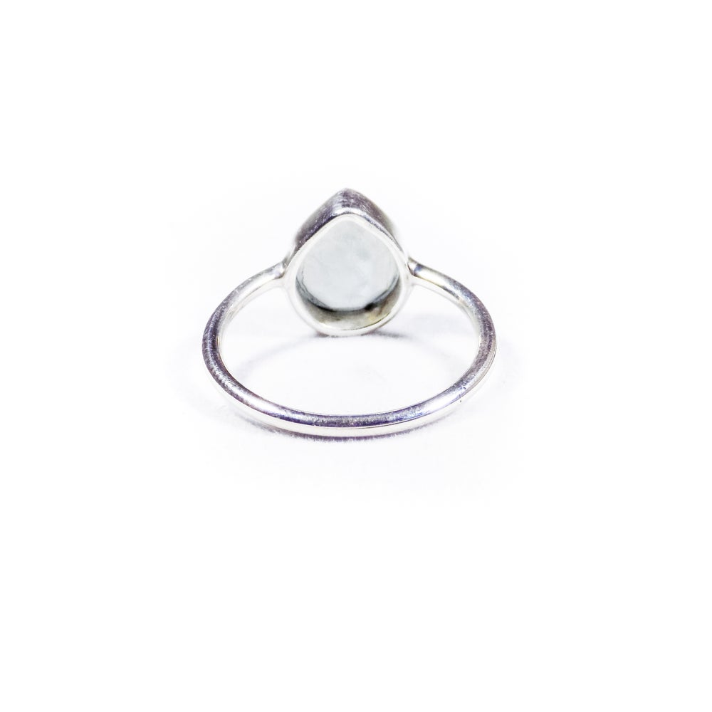 Image of Single Stone Blue Chalcedony Ring- silver