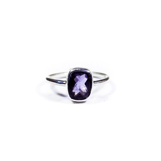 Image of Single Stone Amethyst Ring- silver