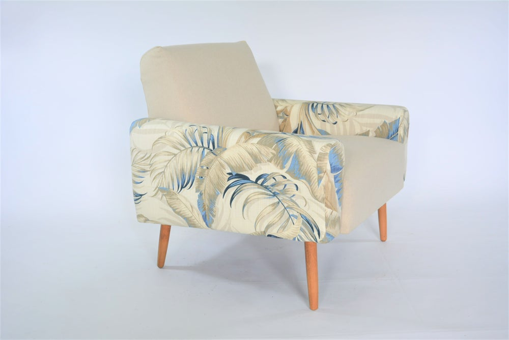 Image of Fauteuil cube beige & botanic