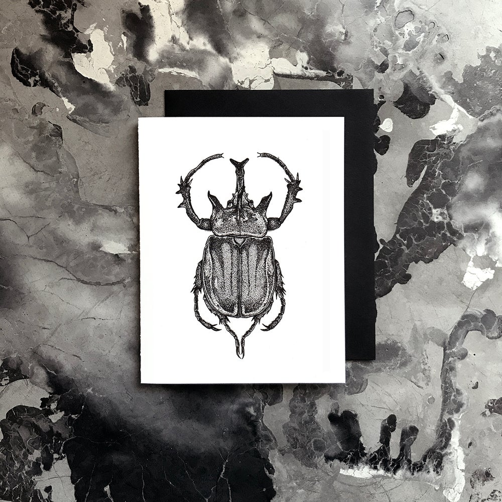 Image of Rhinoceros Beetle Card / Small Print