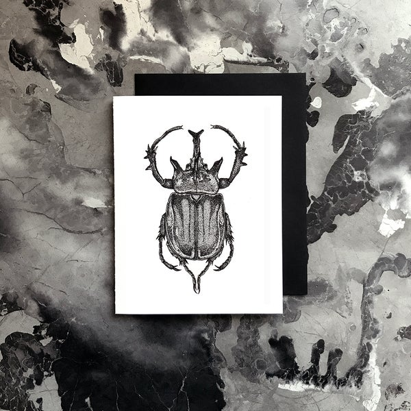 Image of Rhinoceros Beetle Card / Small Print