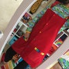 Red Rainbow Button Up Dungaree Dress
