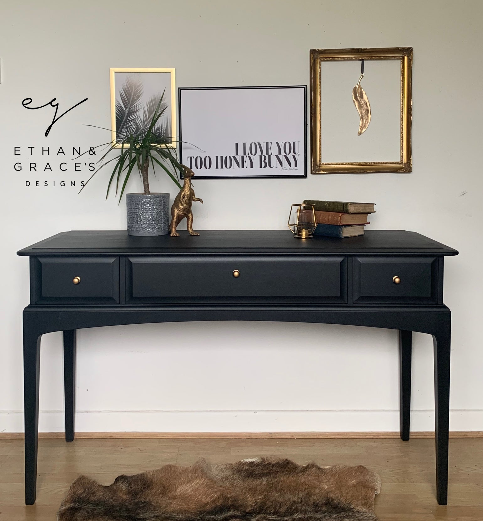 Image of All black Stag mahogany desk/dressing table