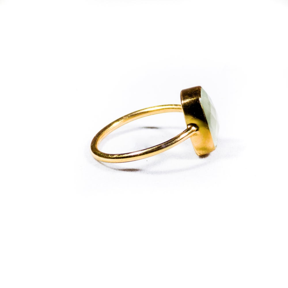Image of Single Stone Natural Prehnite Ring- gold