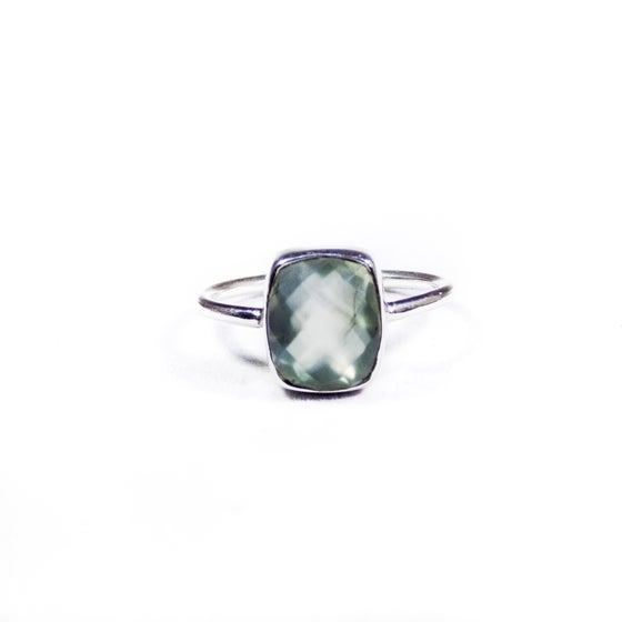 Image of Single Stone Natural Prehnite Ring 3- silver