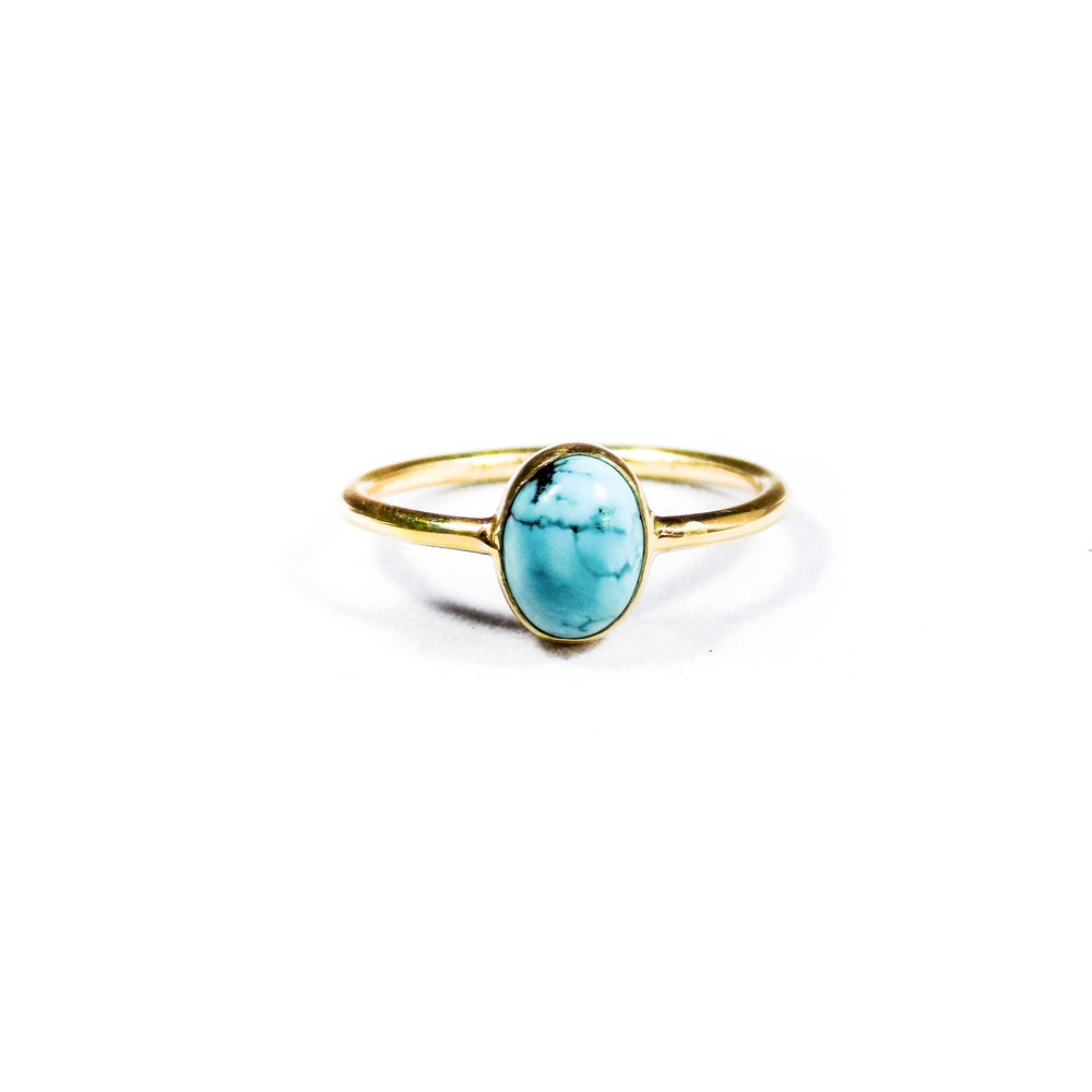 Image of Single Stone Turquoise Ring- gold