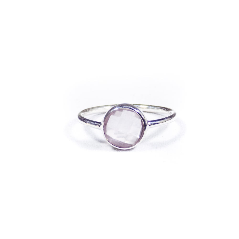 Image of Single Stone Natural Rose Quartz Ring- silver