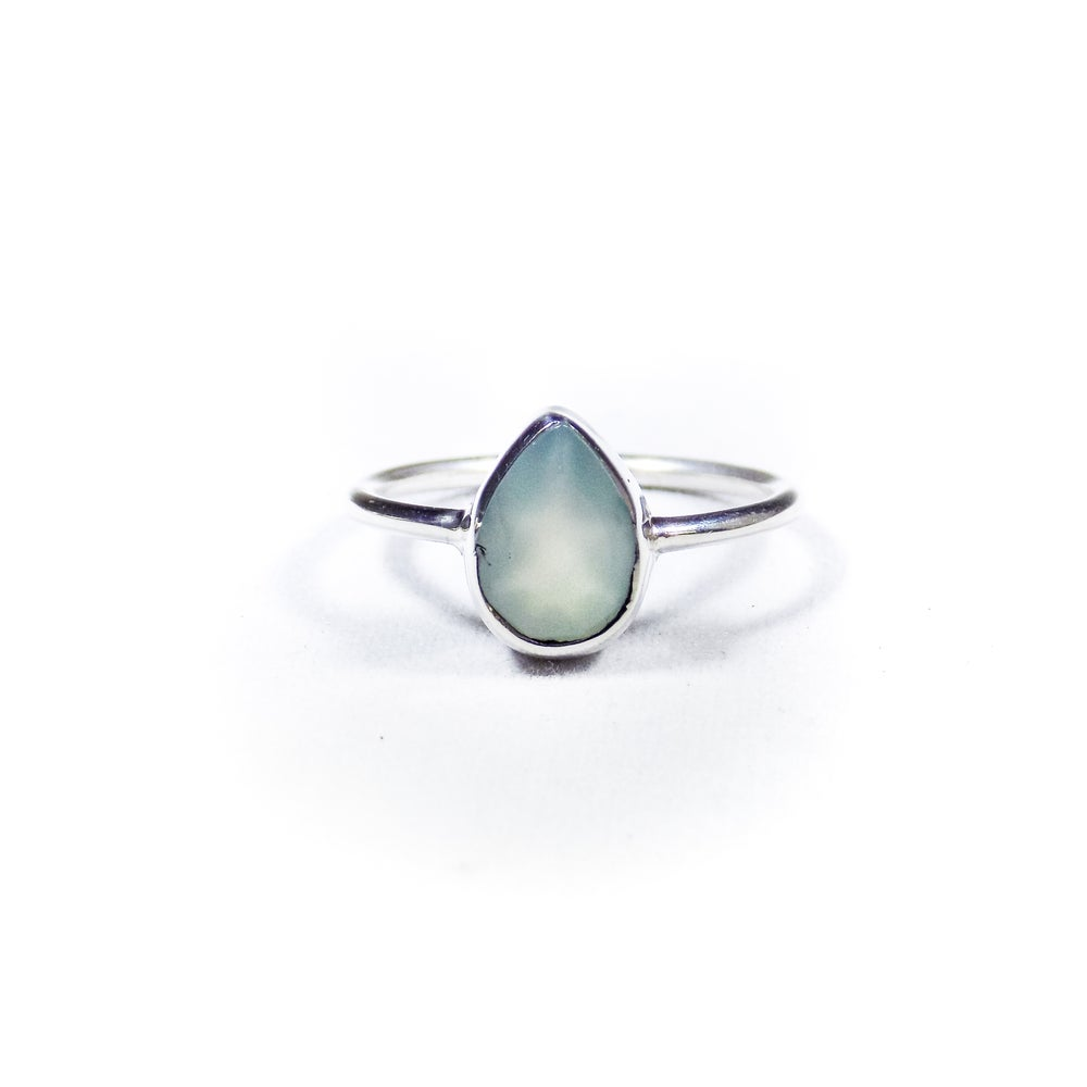 Image of Single Stone Sea Blue Chalcedony Ring 2- silver