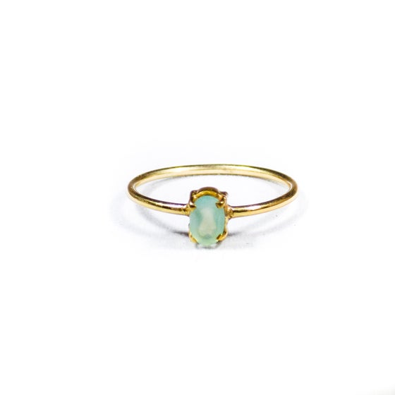 Image of Single Stone Claw Sea Blue Chalcedony Ring 2- gold