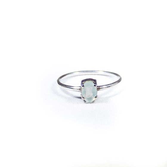 Image of Single Stone Claw Sea Blue Chalcedony Ring 2- silver