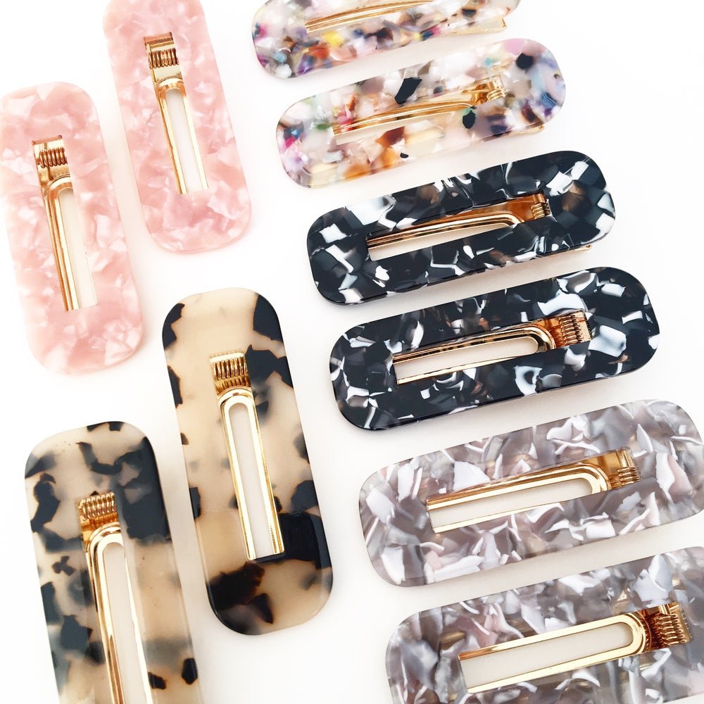 Image of Rectangular Statement Hair Clips