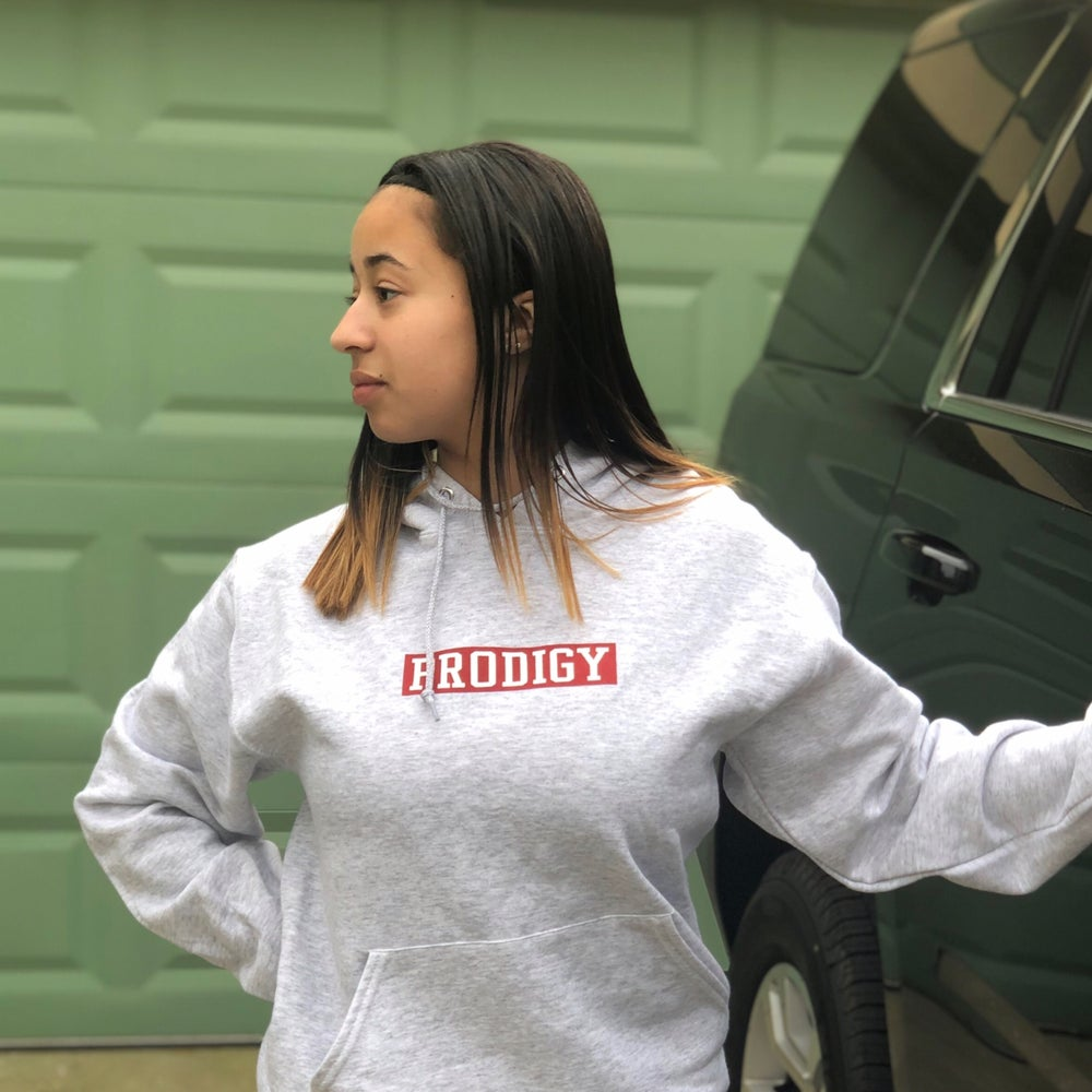 NEW BRAND PRODIGY HEATHER GREY RED AND WHITE SQUARE HOODIE