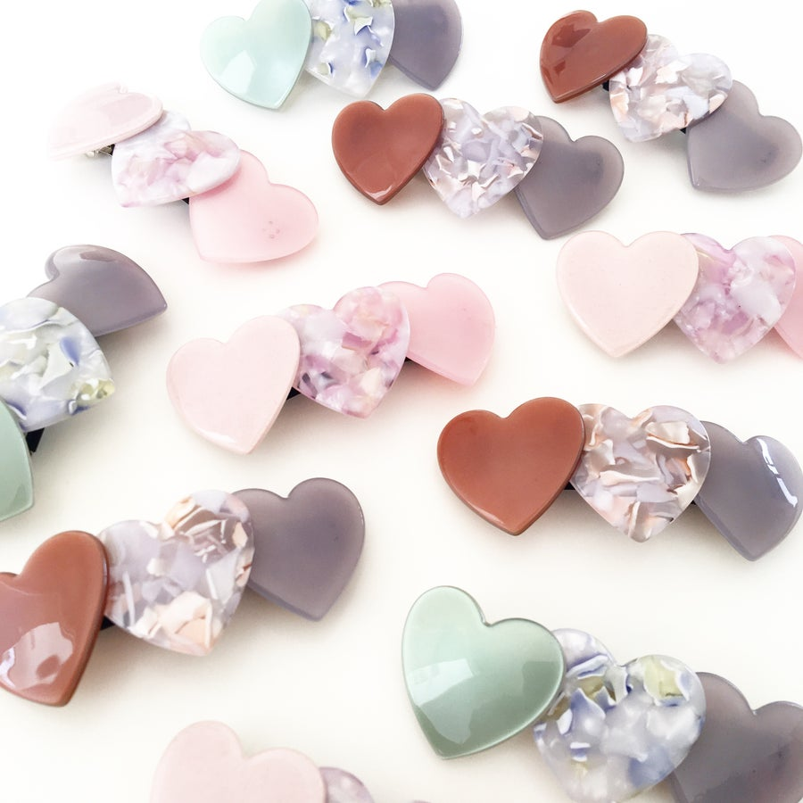 Image of Trio of Hearts - Barrette Hair Clip