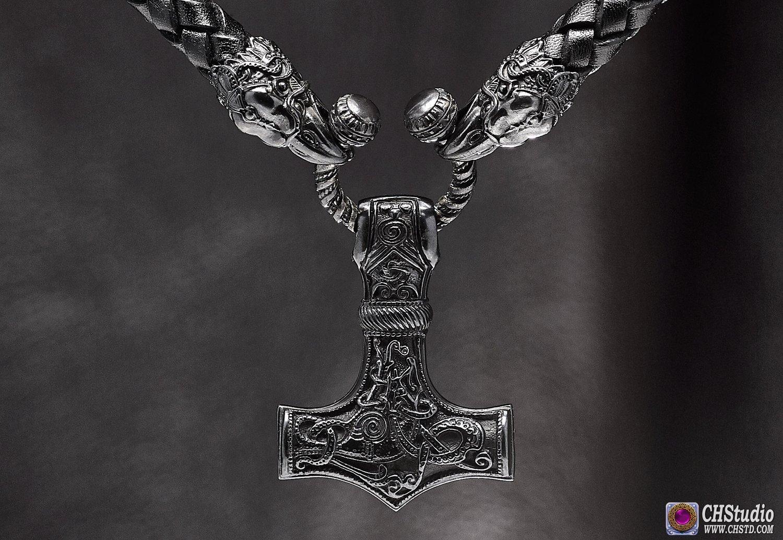 Image of Thor's Hammer : MJOLNIR DARK - Huginn & Muninn Leather Necklace