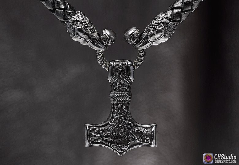 Image of Thor's Hammer : MJOLNIR DARK - Huginn & Muninn Leather Necklace