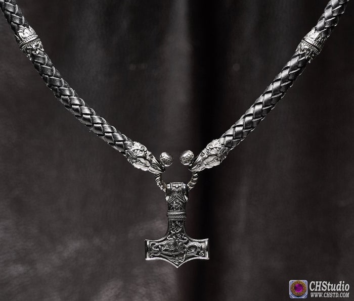 THOR'S HAMMER : MJOLNIR DARK - Huginn & Muninn Leather Necklace