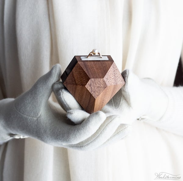 Image of Diamond shape walnut wood ring box by Woodstorming