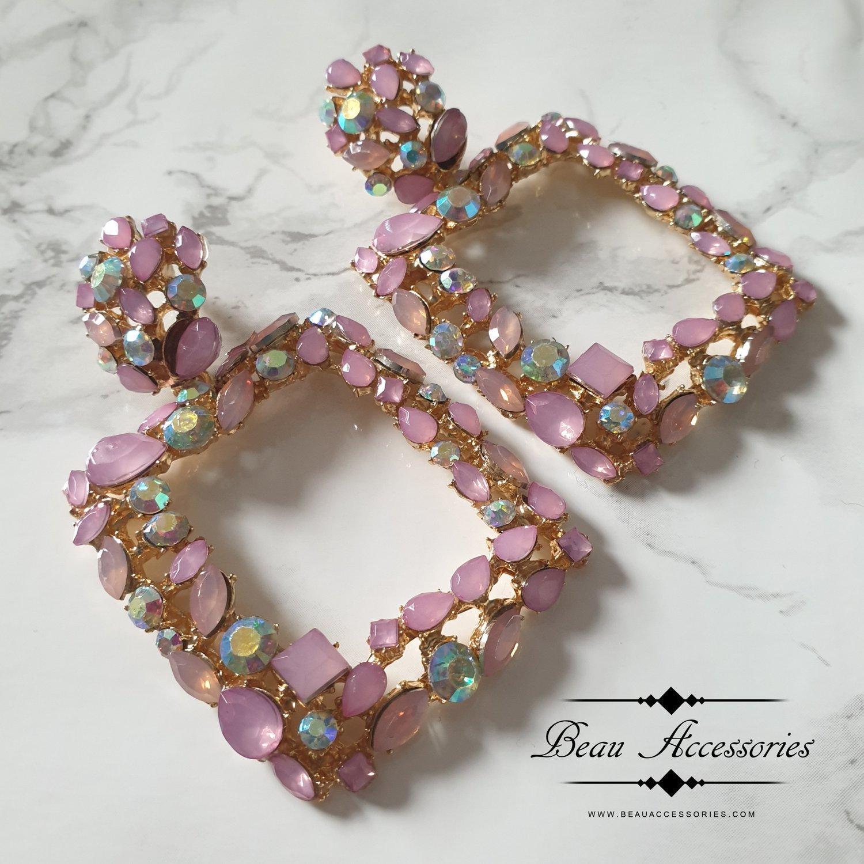 Image of Pink Crystal Rhinestone Earrings