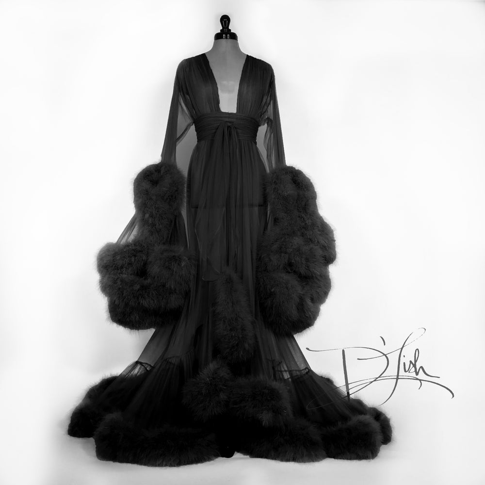 "Image of ""Cassandra"" Sheer Black Marabou Dressing Gown"