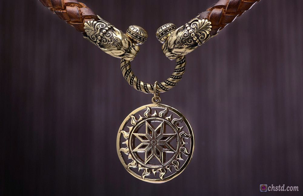 Image of Magic ALATYR : Slavic Protection Amulet - Leather Necklace