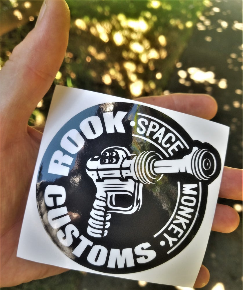 "Image of Rook Customs Logo 4"" Black n White"