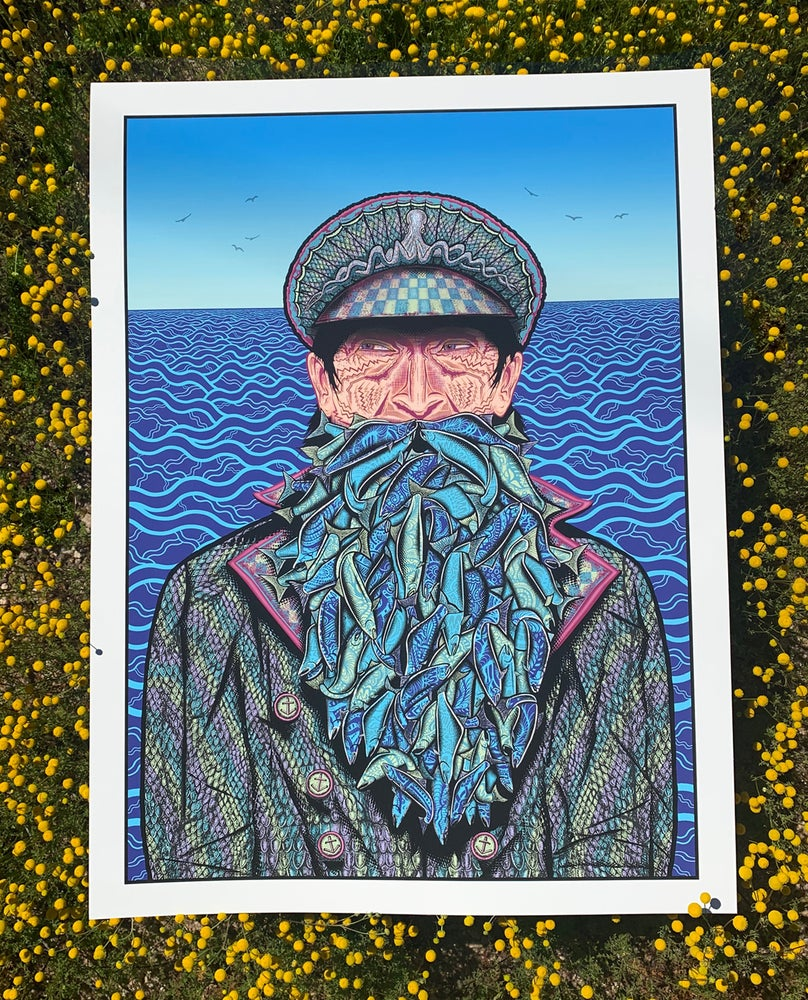 "Image of ""Fish on"" Mini 5x7 Blue Variant"
