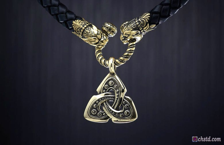 Image of TRIQUETRA :: Celtic Shield Knot - Leather Necklace