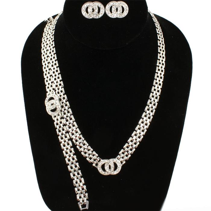 Image of SILVER/RHINESTONE NECKLACE SET