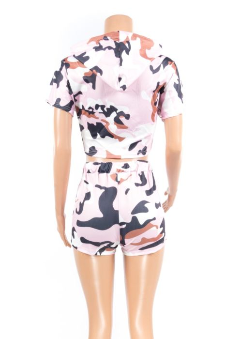 Image of PINK CAMO SHORT SET