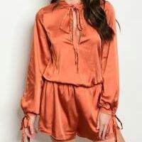 Image of ORANGE RUST SATIN ROMPER
