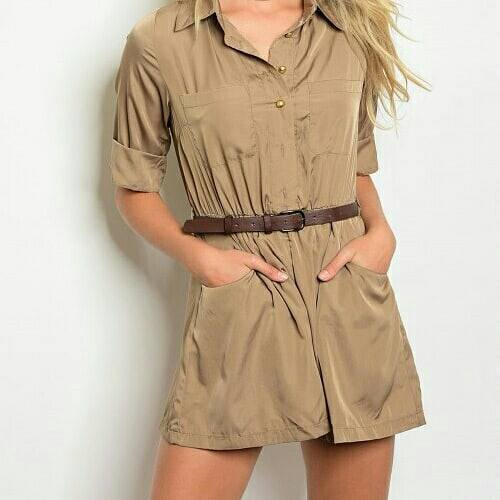 Image of BROWN BELTED ROMPER