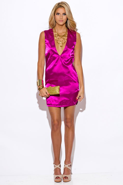 Image of SATIN FUCHSIA MINI DRESS