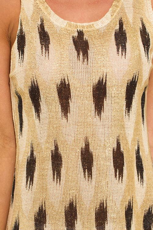 Image of KHAKI/GOLD PRINT DRESS