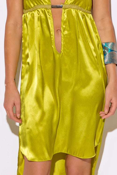Image of Chartreuse Yellow Satin Dress